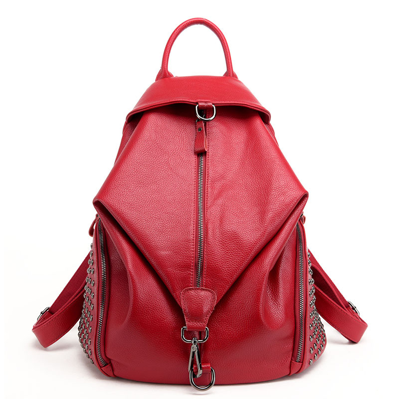 Fashion DesignGenuine Leather Women Rivets Backpack Casual School Bags For Teenagers Girls High Quality Female Travel BackPacks brand women bow backpacks pu leather backpack travel casual bags high quality girls school bag for teenagers