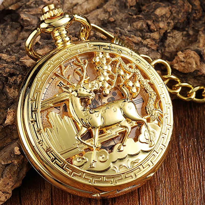 Vintage Gold Deer Hollow Hand Wind Luxury Mechanical Pocket Watch Necklace Roman Numerals Chain Watch Pendant For Men Women Gift