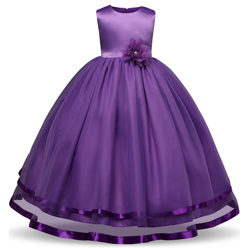 Girls Dress Mesh Pearls Children Wedding Party Dresses Kids Evening Ball Gowns Formal Baby Frocks Clothes Princess Dress