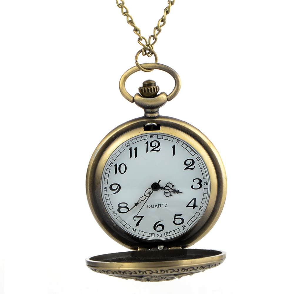 Cindiry Stylish Vintage Women Retro Bronze Quartz Necklace Pendant Pocket Watches Chain Necklace Clock Gift P0.5 antique retro bronze car truck pattern quartz pocket watch necklace pendant gift with chain for men and women gift
