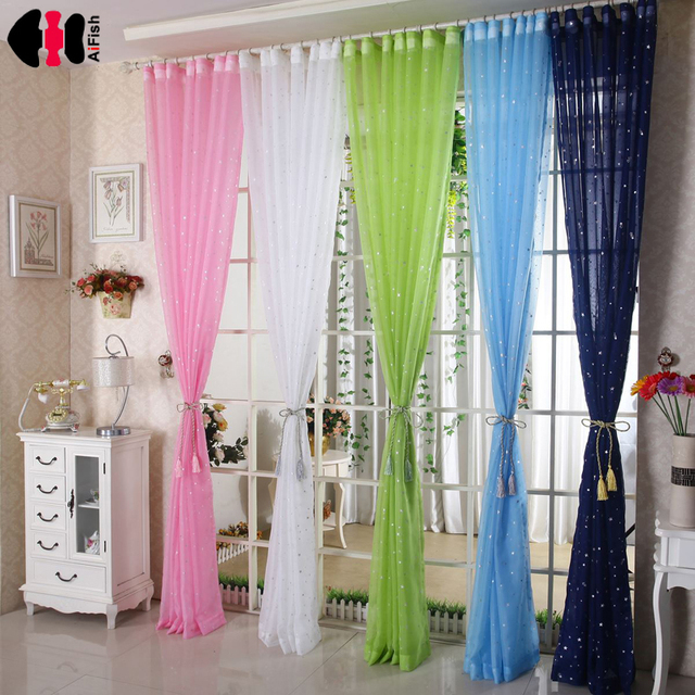 green curtains for living room. Stars pink sheer curtains Decor Children white for Living  Room tulle windows Treatment
