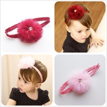 1 Pcs 2017 Lovely Chiffon Flower with Gemstone Elastic Hair bands Kids Pink Cute Headbands Summer Style headwear Accessaries D34