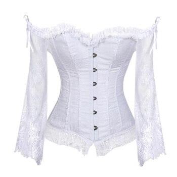 Plus Size Corset Tops Gothic Victorian Steampunk Lolita Shirts Sexy Off Shoulder Retro Vintage Renaissance Medieval Lace Blouses