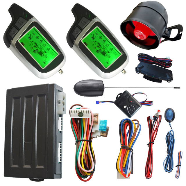 Cheap remote engine ignition start auto 2 way car alarm system with auto window rolling up negative output bypass output after start