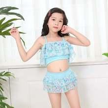 Детские купальники для девочек, летние купальник на бретелях для маленьких девочек, топы с цветочным принтом, юбка, шорты, детские купальники, комплект