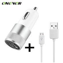Car Charger 12-24V1A+2.1A  with a USB Charging Data Cable for Samsung HTC LG Sony Huawei Xiaomi