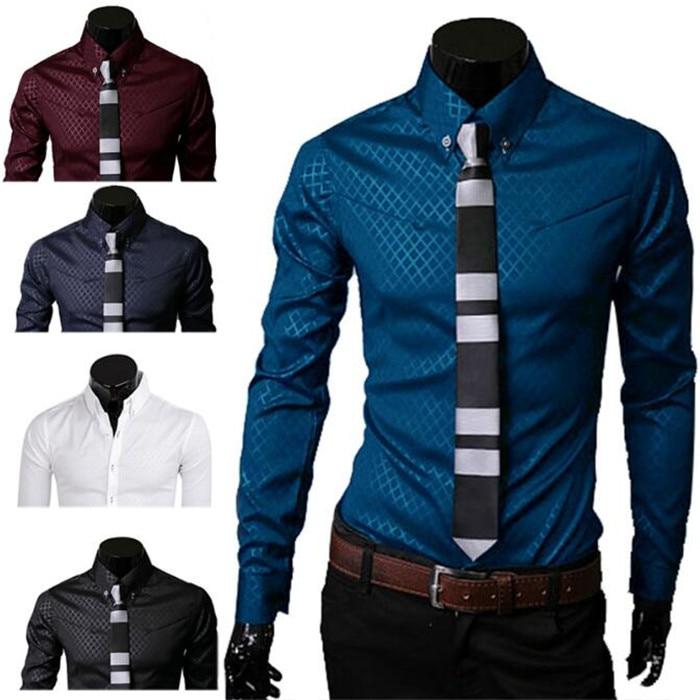 1Pcs Casual Cotton Men's Tops Button Slim Fit Lattice Long Sleeve New Fashion Dark Plaid Long Sleeve Shirt Turn-down Collar