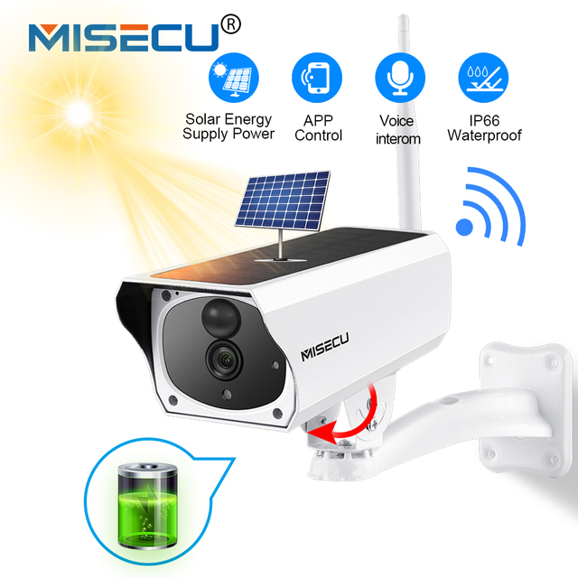 MISECU 1080P Full HD Video Surveillance Outdoor Security Camera Solar Battery Charge WIFI IP Cameras Waterproof Audio PIR Motion