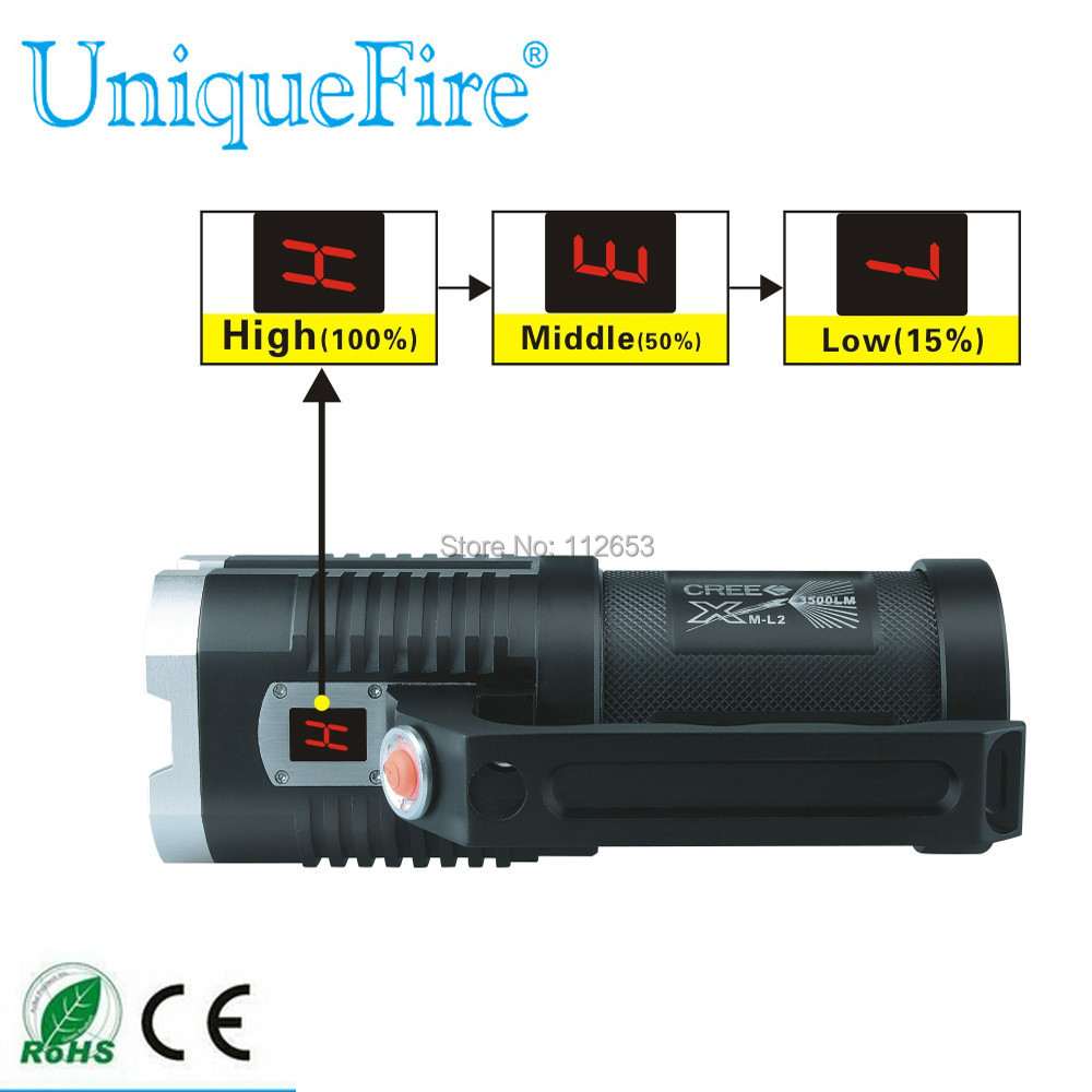 High Power Digital Display Portable LED Flashlight UniqueFire 1400 5 Mode 5000 Lm 4*Cree XM-L2 LED Torch Lamp For Camping Hiking 5000lm portable flashlight uniquefire uf 1400 5 mode 4 cree xm l2 led torch lamp for 4 18650 li ion rechargeable battery
