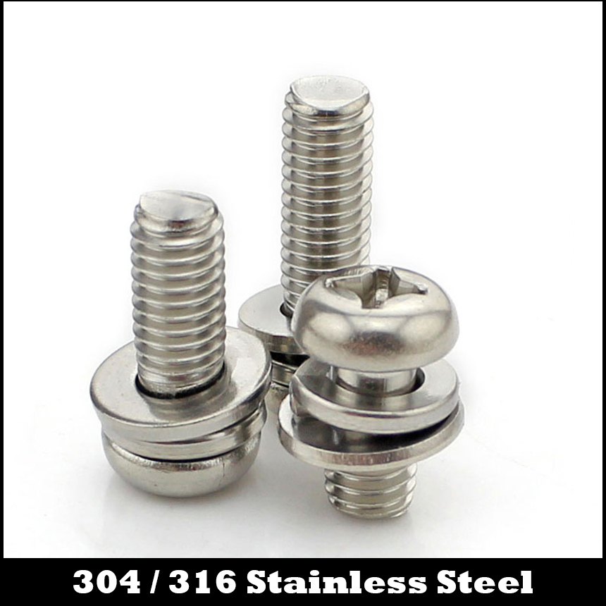 M3*5 M3x5 M3*6 M3x6 M3*8 M3x8 M3*10 M3x10 304 316 Stainless Steel ss Plain Spring Washer Philips Cross Pan Head Screw Assembly