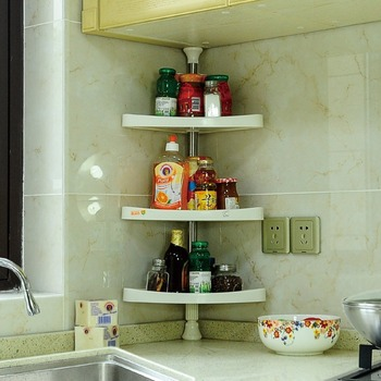 3-Tier Kitchen Corner Shelf Organizers Spice Condiment Rack Bath Shower Shelf Kitchen Utensils Holder DQ601C shelf