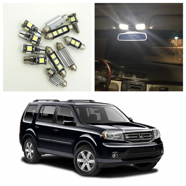 15pcs Super Bright Canbus White Car LED Light Bulbs Interior Package Kit  For 2009 2015 Honda Pilot Map Dome License Plate Lamp