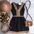 2016 новый летний стиль рукавов женщины Кружева dress Черный и белый элегантные Линии Краткое мини повседневные платья плюс размер