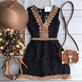 2016 new summer style sleeveless women Lace dress Black and white elegant A-line Brief mini casual dresses plus size