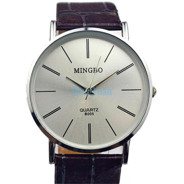 9678df27cd2 Simple Design Women Dress Watches Men Quartz Watch Brown Leather Strap  Watches Mingbo Relogio Masculino Feminino Couple Watch