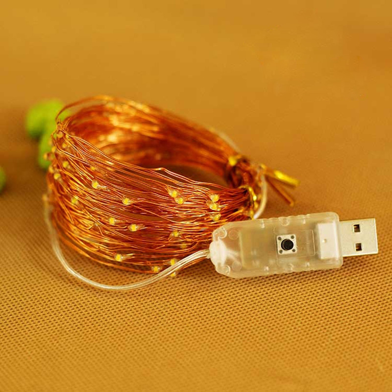 10 X 10M LED 8 function USB Copper Wire holiday string lights color 3000K/ 4 Color Christmas party wedding garden decorate lamps