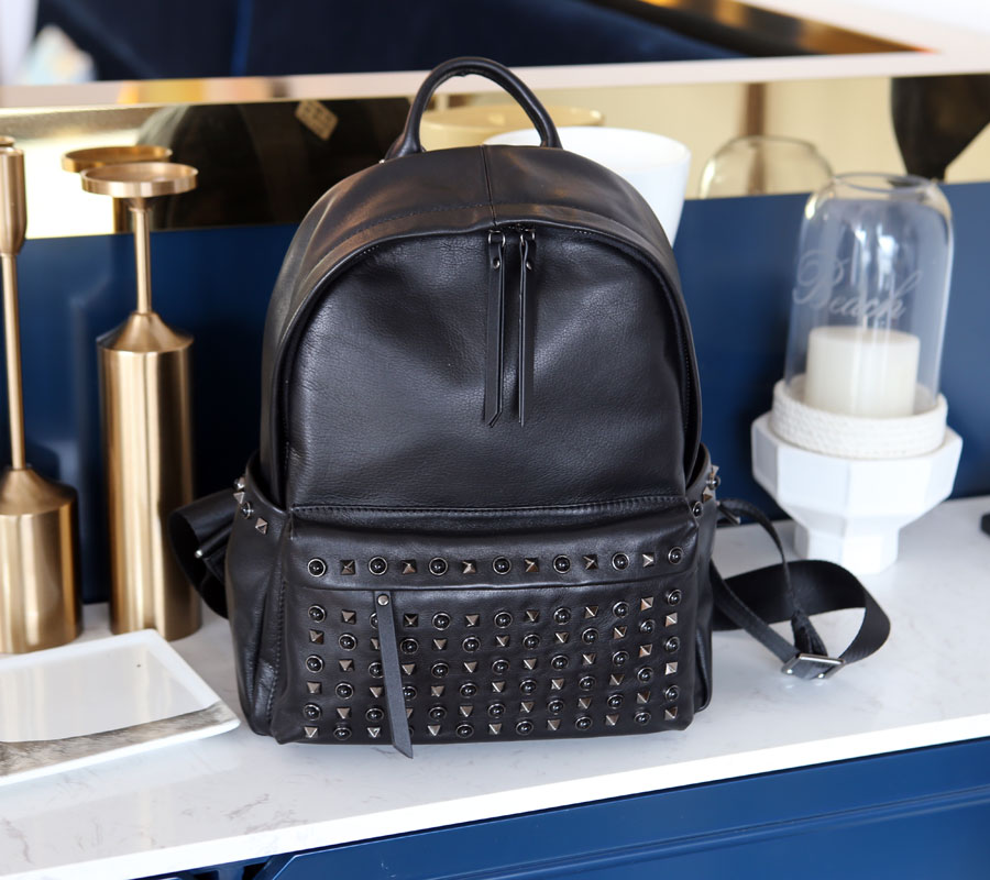 New arrival famous brand genuine leather rivet backpack high quality student school women fashion preppy style travel bags ciker new preppy style 4pcs set women printing canvas backpacks high quality school bags mochila rucksack fashion travel bags