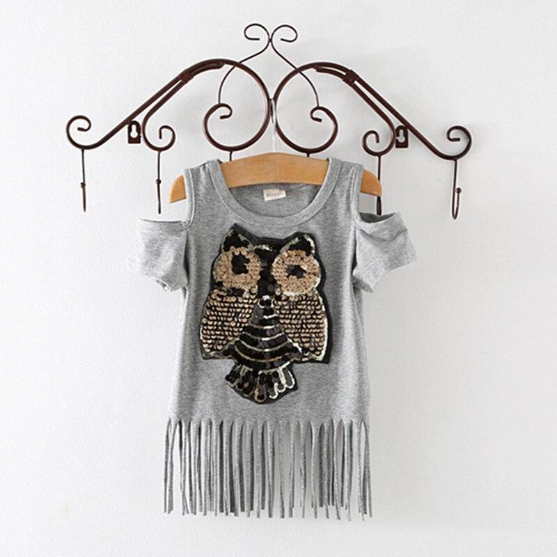 sequins owl kids girls t shirt short sleeve children t shirts for girl. Black Bedroom Furniture Sets. Home Design Ideas