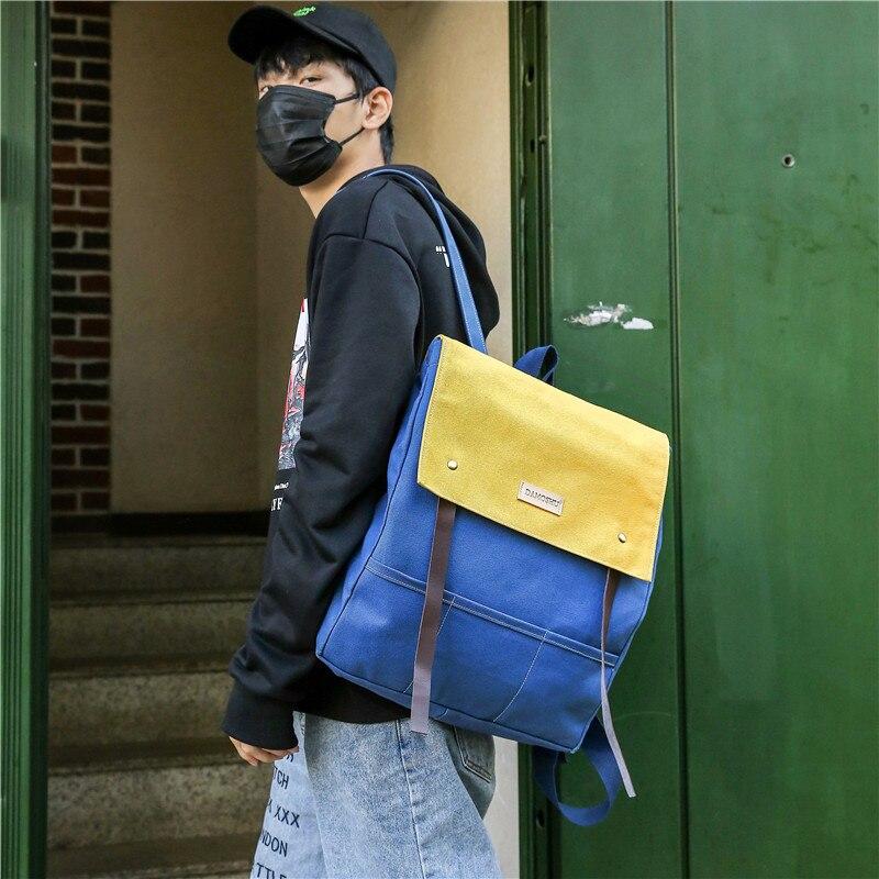 Sac à dos mignon en toile lambrissée Harajuku sacs à bandoulière pour hommes et femmes sac pack japon Style Preppy adolescent cartable livre sac
