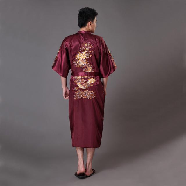 De gran tamaño XXXL borgoña hombres de Kimono vestido del baño del estilo chino de seda satén Robe bordado del dragón del camisón de dormir Pijamas MR009