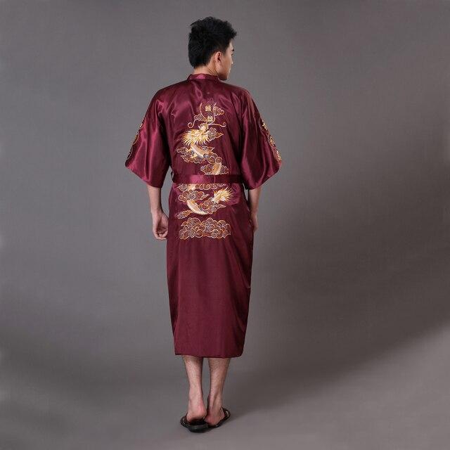 Oversize XXXL Burgundy Men's Kimono Bath Gown Chinese Style Silk Satin Robe Embroidery Dragon Nightgown Sleepwear Pijamas MR009