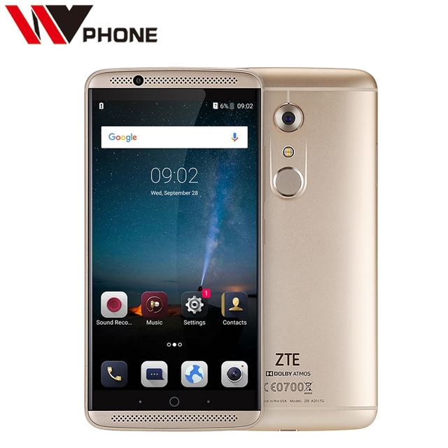 "Original ZTE Axon 7 4G LTE Cell Phone Snapdragon 820 5.5"" 2K 2560X1440 4G RAM 128G ROM 20.0MP Fingerprint ID NFC"