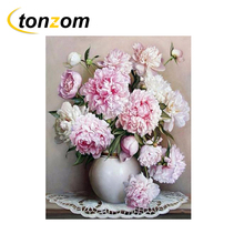 RIHE Blooming Pink Flower  Drawing By Numbers Smooth Vase DIY Painting Handwork On Canvas Oil Art Coloring For Home