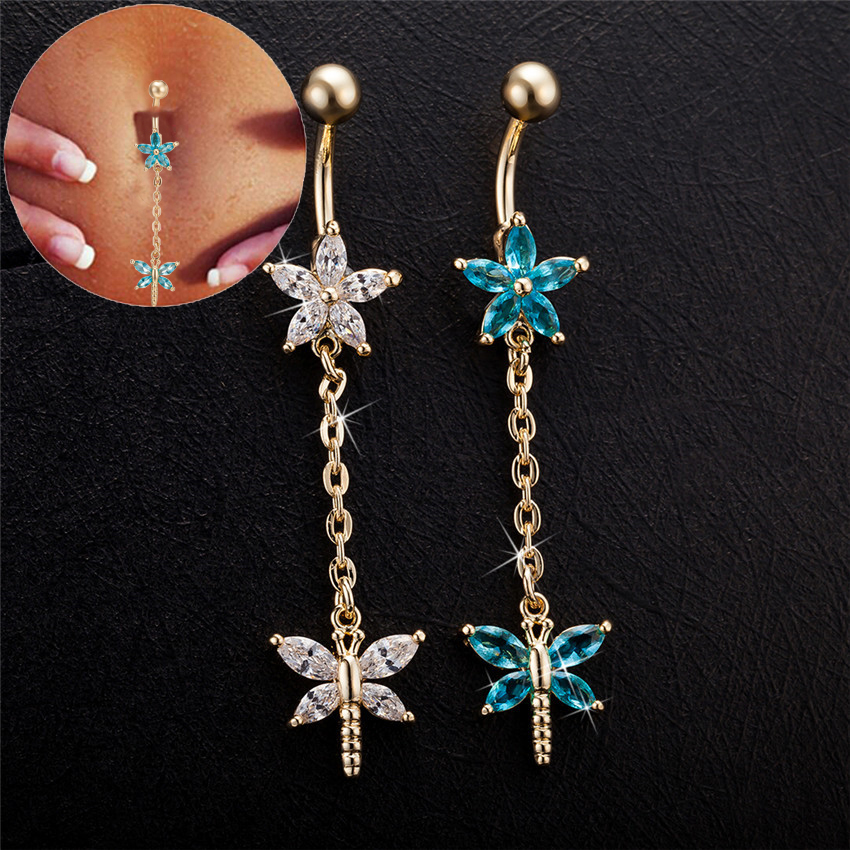 2019 Bunga Emas Warna Belly Button Cincin Menindik Blue Clear Cubic Zirconia Dragonfly Badan Menebal Pusingan Nombril Couleur Atau
