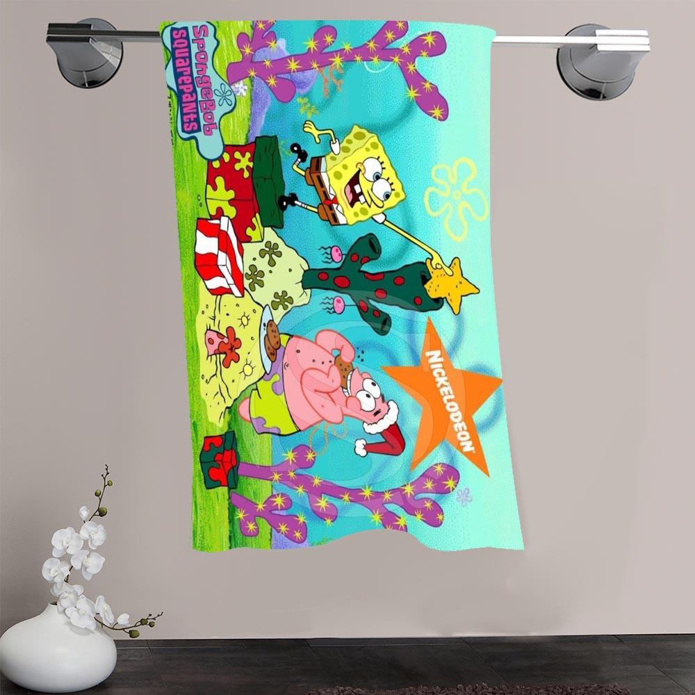 Spongebob squarepants bathroom accessories - H P 103 Custom Big Size 140cmx70cm Cotton Bath Towel Spongebob 2 Shower Towel For Your