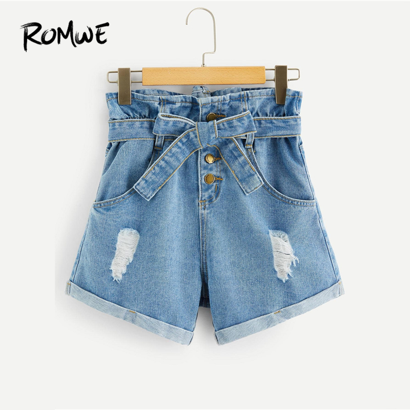 ROMWE Ripped Detail Rolled Hem Denim   Shorts   2019 Stylish Women Summer Blue   Shorts   Young Casual High Waist Button Fly   Shorts