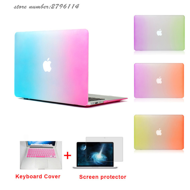 c1e892a2b33 Matte Rainbow Hard Protector Laptop Case For MacBook Air 11 Pro 13   15  inch with Retina bag + Pink Keyboard Cover Free Shipping