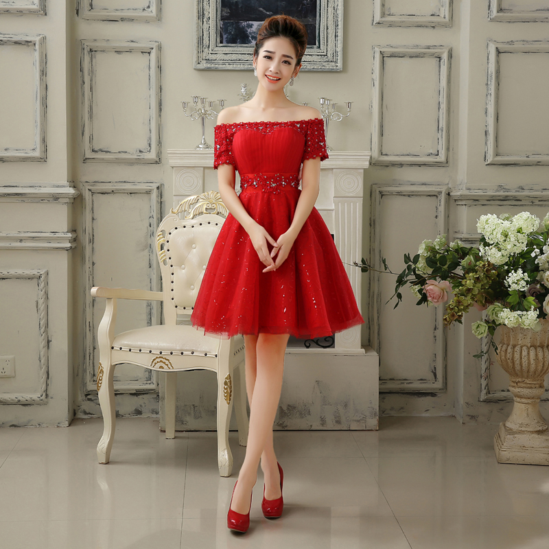 2016 New Short Evening Dresses Red Short Sleeves Off the Shoulder Bride Gown Ball Prom Party Homecoming/Graduation Formal Dress