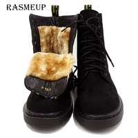 RASMEUP Leather Thick Warm Women's Martins Boots 2018 Fashion Winter Fur Women Ankle Snow Boots Platform Woman Motorcycle Shoes