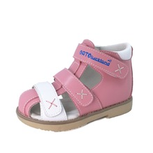 цена на Baby girls leather orthopedic shoes children flat foot sandal kids orthopedic shoes with arch support insole