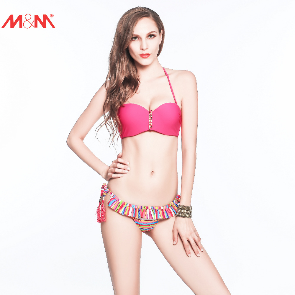 M&M Tie Side Tassel Bikini Set Beach Halter Brazilian Strappy Bandeaus Lace Sexy Ruched Push Up Low Waist Pad Flouncing Swimwear