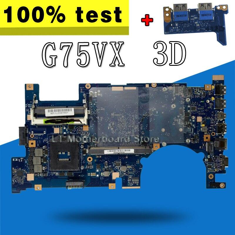Envoyer conseil + G75VX Carte Mère REV2.0 3D Connecteur PGA989 Pour ASUS G75V G75VX mère D'ordinateur Portable G75VX Carte Mère G75VX Carte Mère