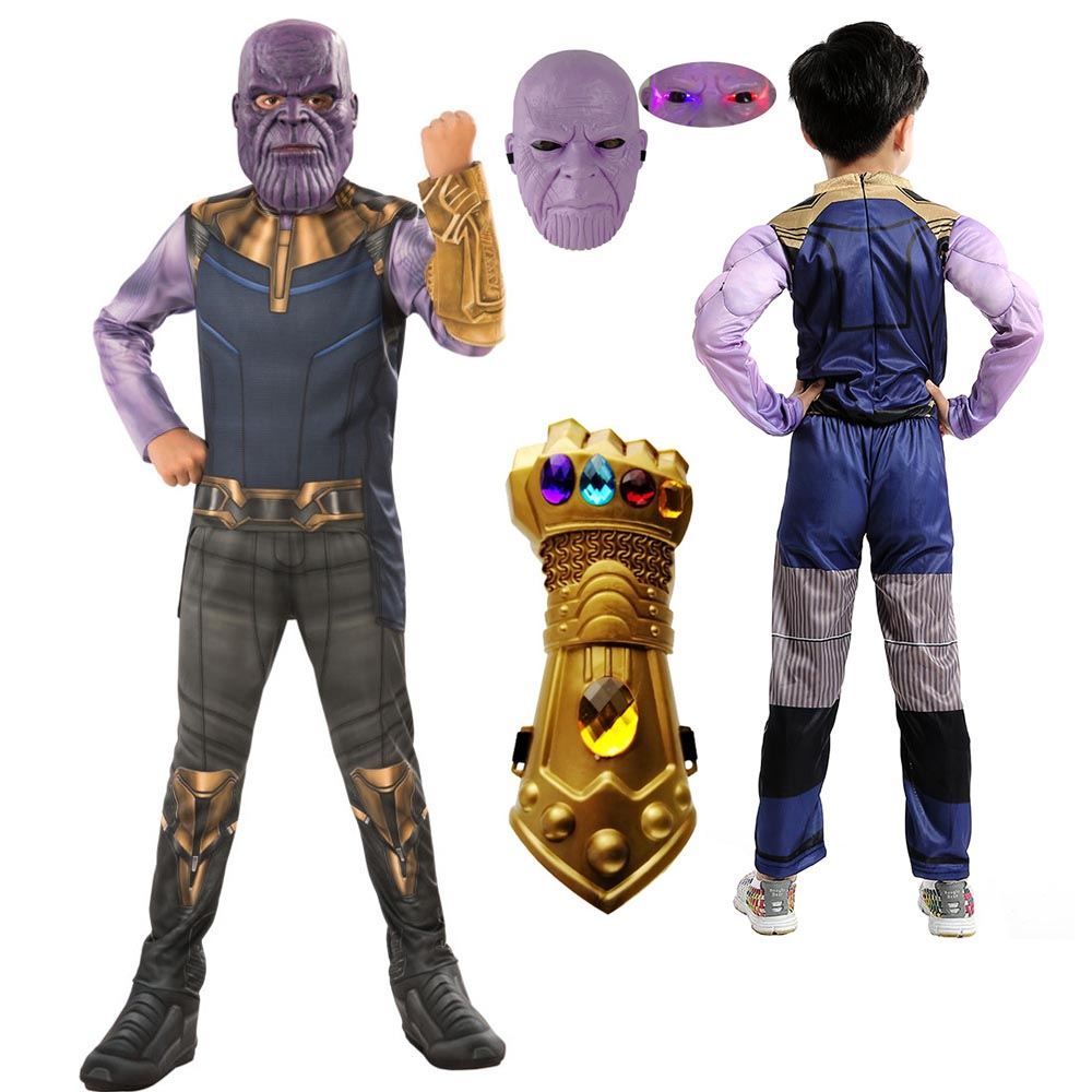 Thanos Kids Cosplay Costume Avengerss Thanos Costumes For Kids Jumpsuits Mask Glove Infinity War Children Halloween Party Dress