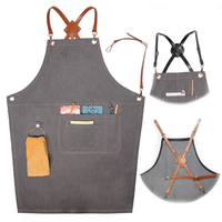 New 2018 Denim Aprons Leather Uniform Unisex Adult Jeans Aprons for Woman Men Male Lady's Kitchen barber Cooking Pinafores Logo