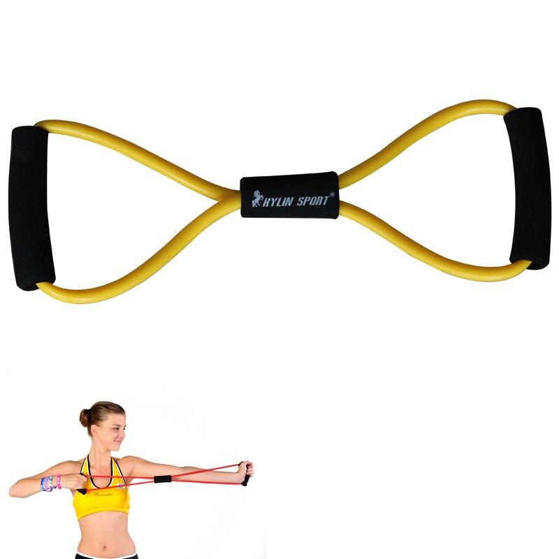 figur 8 typ motstånd band övning rör yoga dra upp utrustning gul - Fitness och bodybuilding