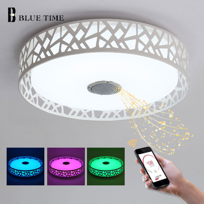 D47cm RGB Music Lamp Modern LED Chandelier Lustres With Bluetooth Control Color Changing LED Ceiling Chandelier Lighting Fixture