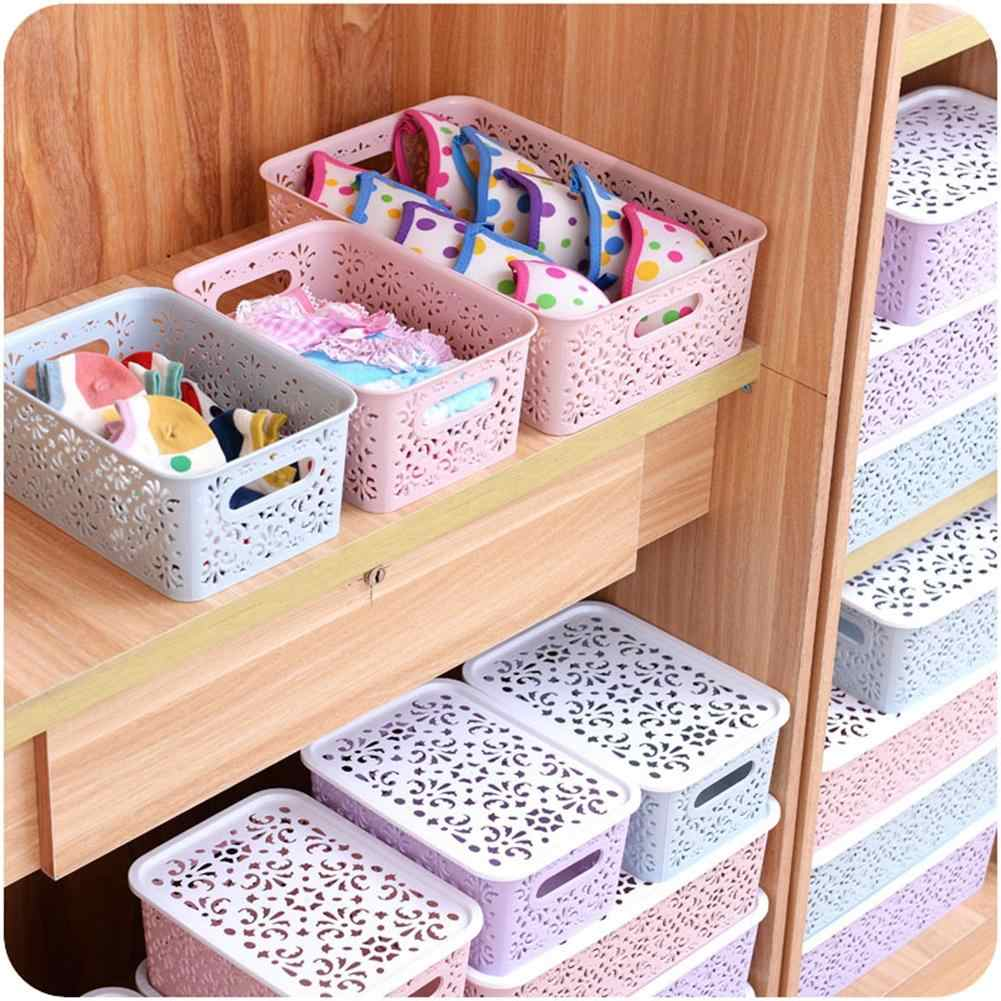 Adeeing Creative Plastic Desktop Hollow Storage Basket Underwear Storage Box Kitchen Organizer Clothes Toys Storage Container