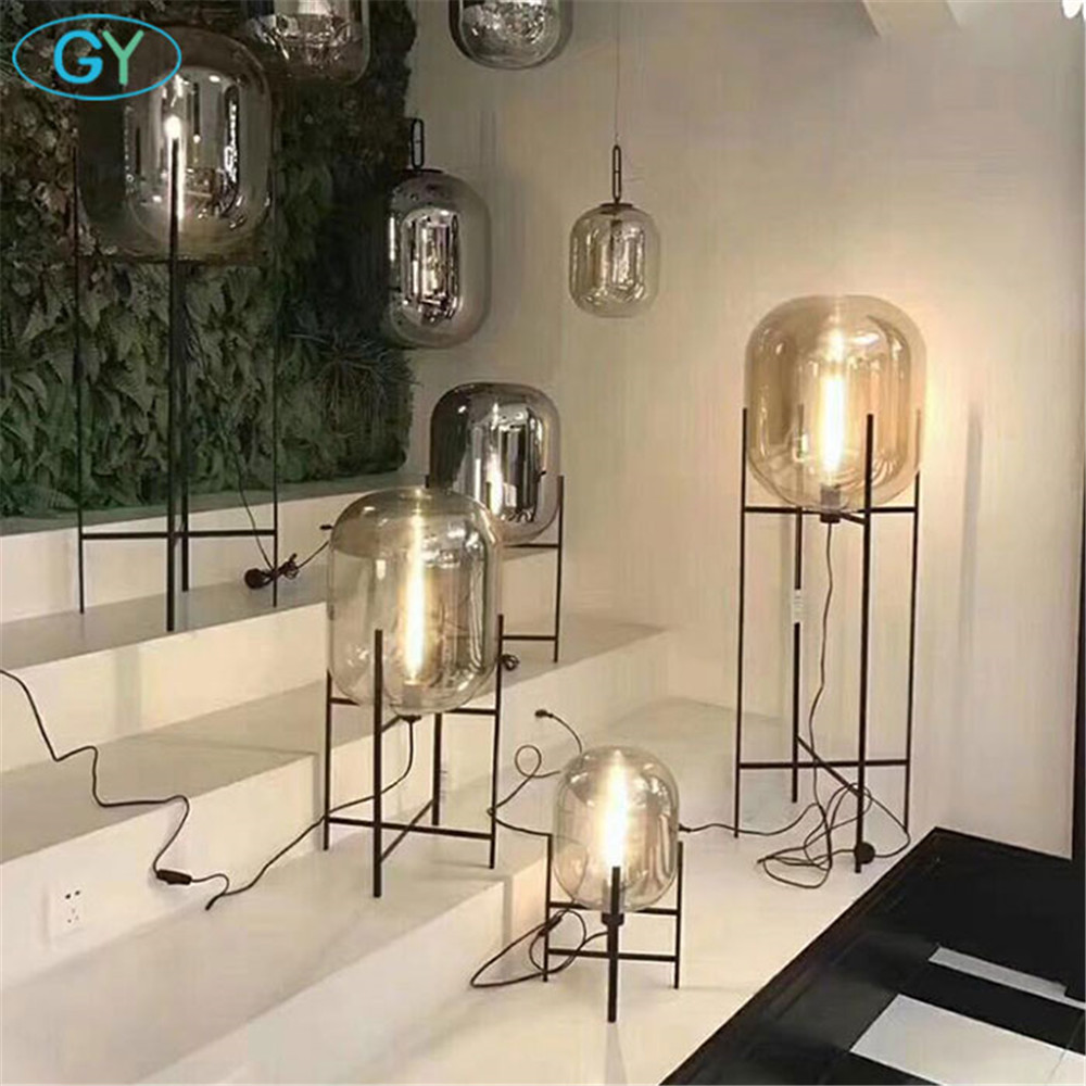 Art Design Nordic glass shade desk light cognac clear gray floor standing lamp living room bedroom