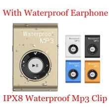 16GB IPX8 Mini Waterproof Swimming MP3 Clip Player with Earphone Walkman Hifi Sereo Music With FM Radio