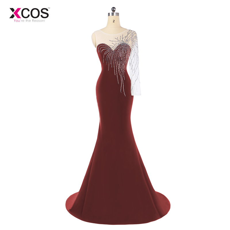 Elegant Mermaid   Prom     Dresses   2018 Long Burgundy Sheer Neck Illusion Single Long Sleeve Beading Formal Party Gowns