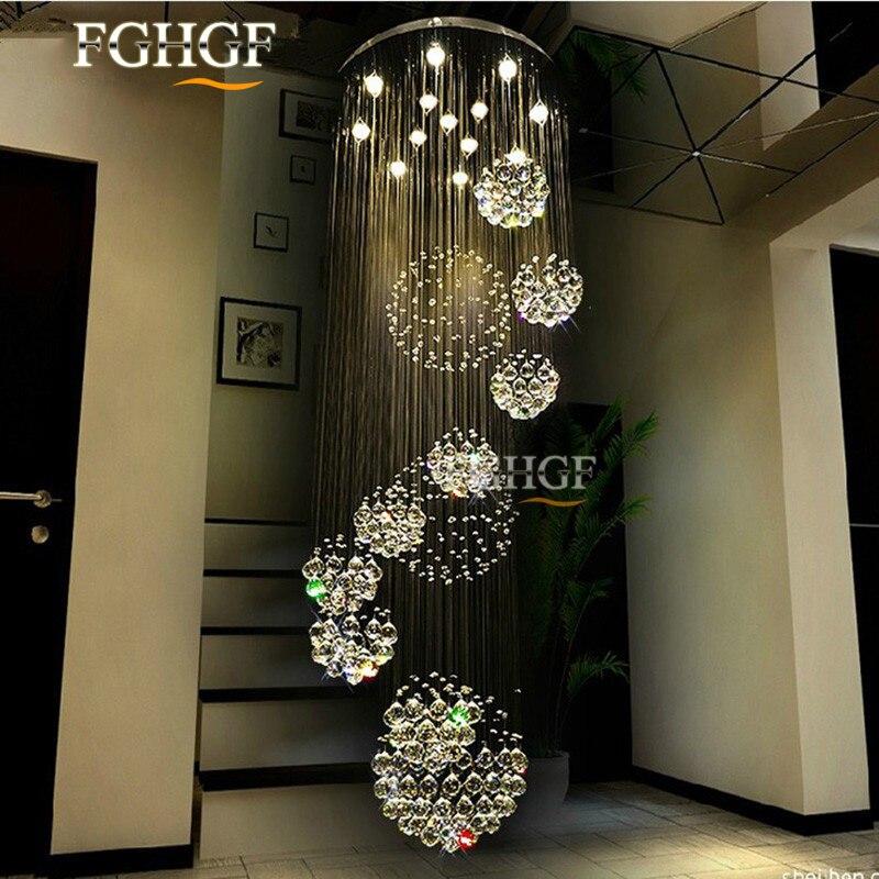 Villa Schodiště lampy Dlouhá Obývací pokoj Světla Moderní Křišťálový lustr LED svítidla Lustres de cristal Rychlá doprava