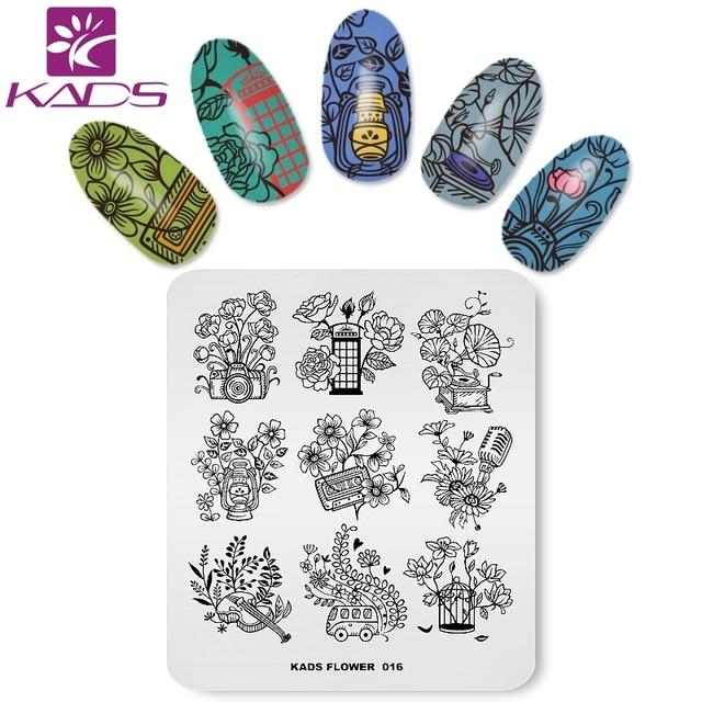 KADS nuevo llegada flor 016 de diseño de la flor sello clavo decoración plantilla herramientas sello clavo uñas de manicura placas
