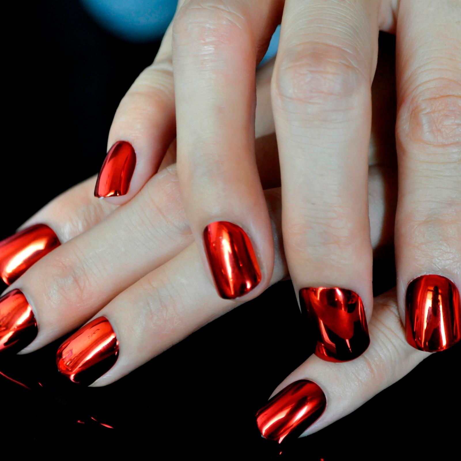 Fashion Red Metallic False Nail Tips Bright Metal Surface Flat Top ...