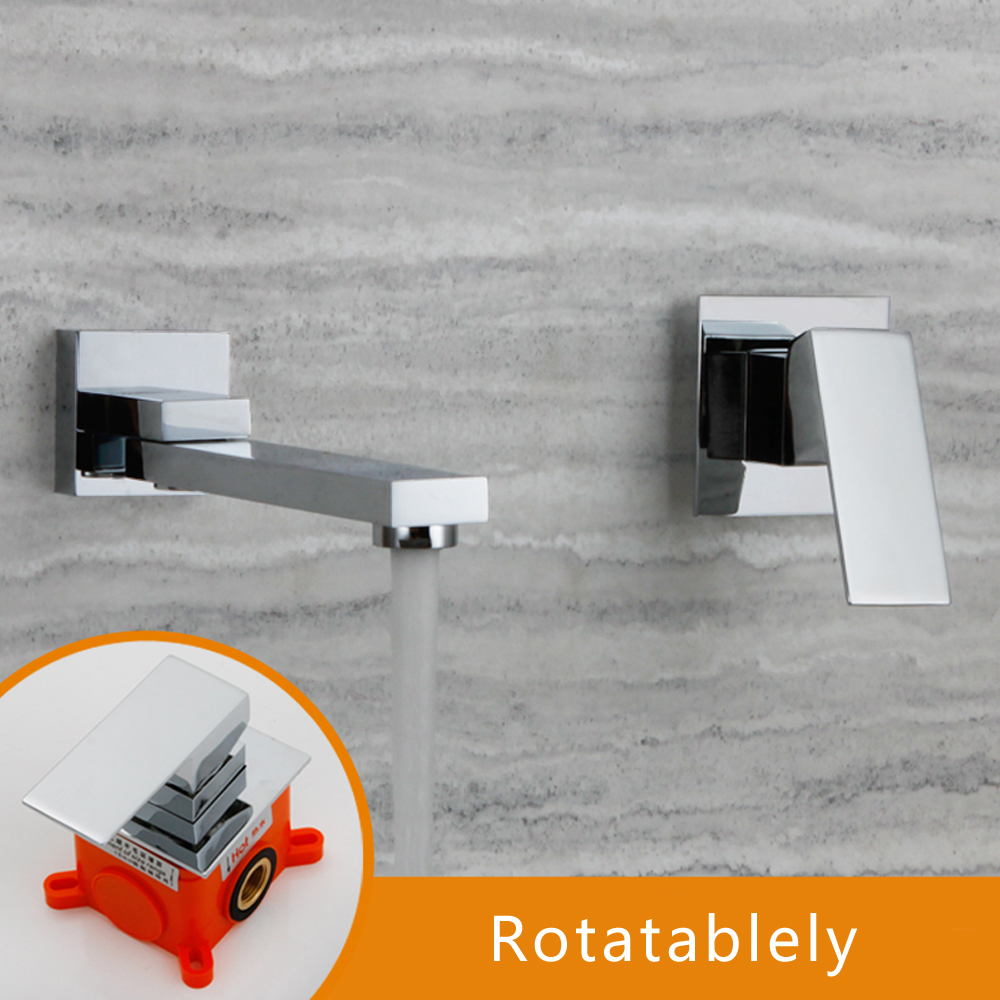 Wall Mounted Faucet Brass Single Handle Bathroom Two Holes Basin Swing Spout Chorme Water Tap