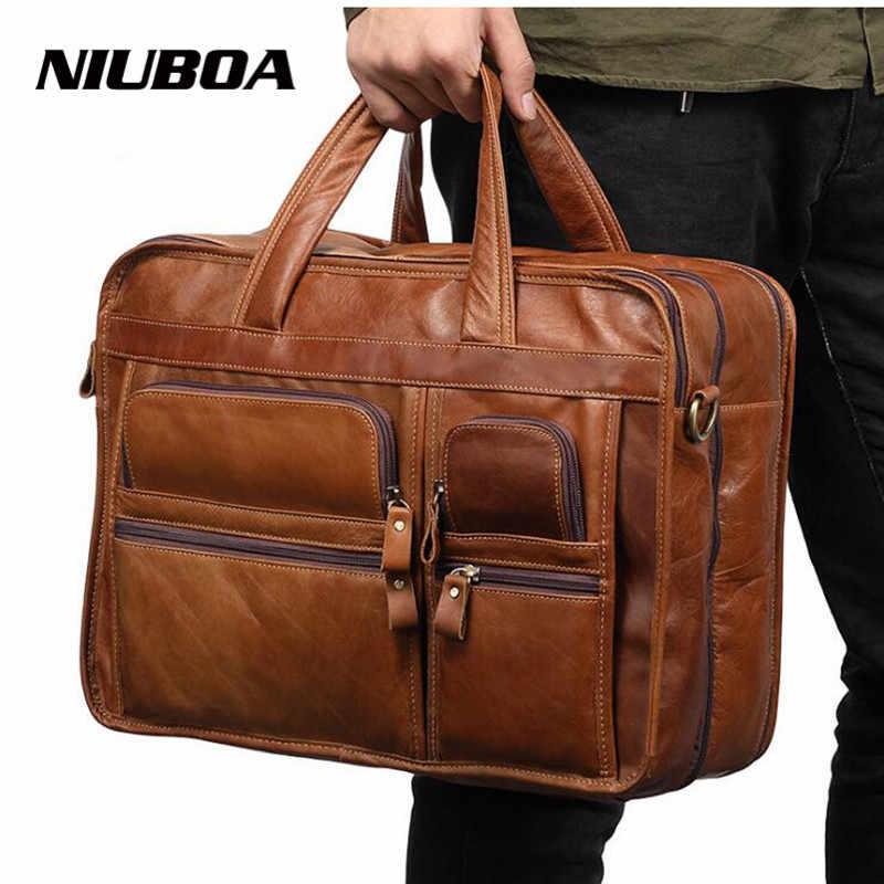 935d41a89482 Niuboa Для мужчин Портфели s из натуральной кожи сумки Винтаж ноутбука Портфели  сумка сумки на ремне