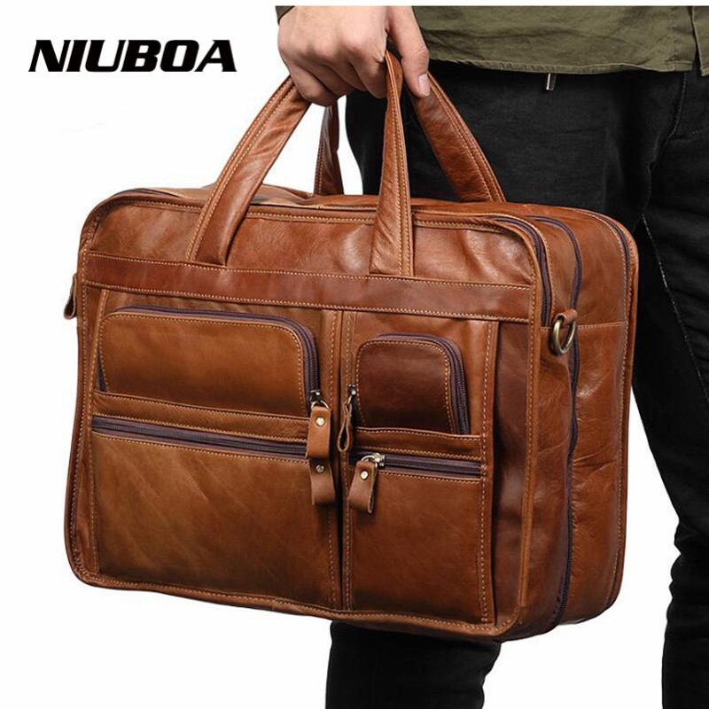 NIUBOA Men Briefcases Genuine Leather Handbag Vintage Laptop Briefcase Messenger Shoulder Bags Men's Multi Pockets Leather Bags цена